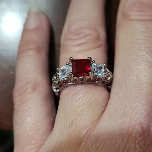 Jewelry - New Ruby & Diamond Heart❤ Ring Size 6